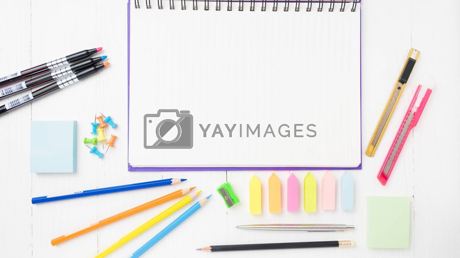 notepad with office supplies by ammza12