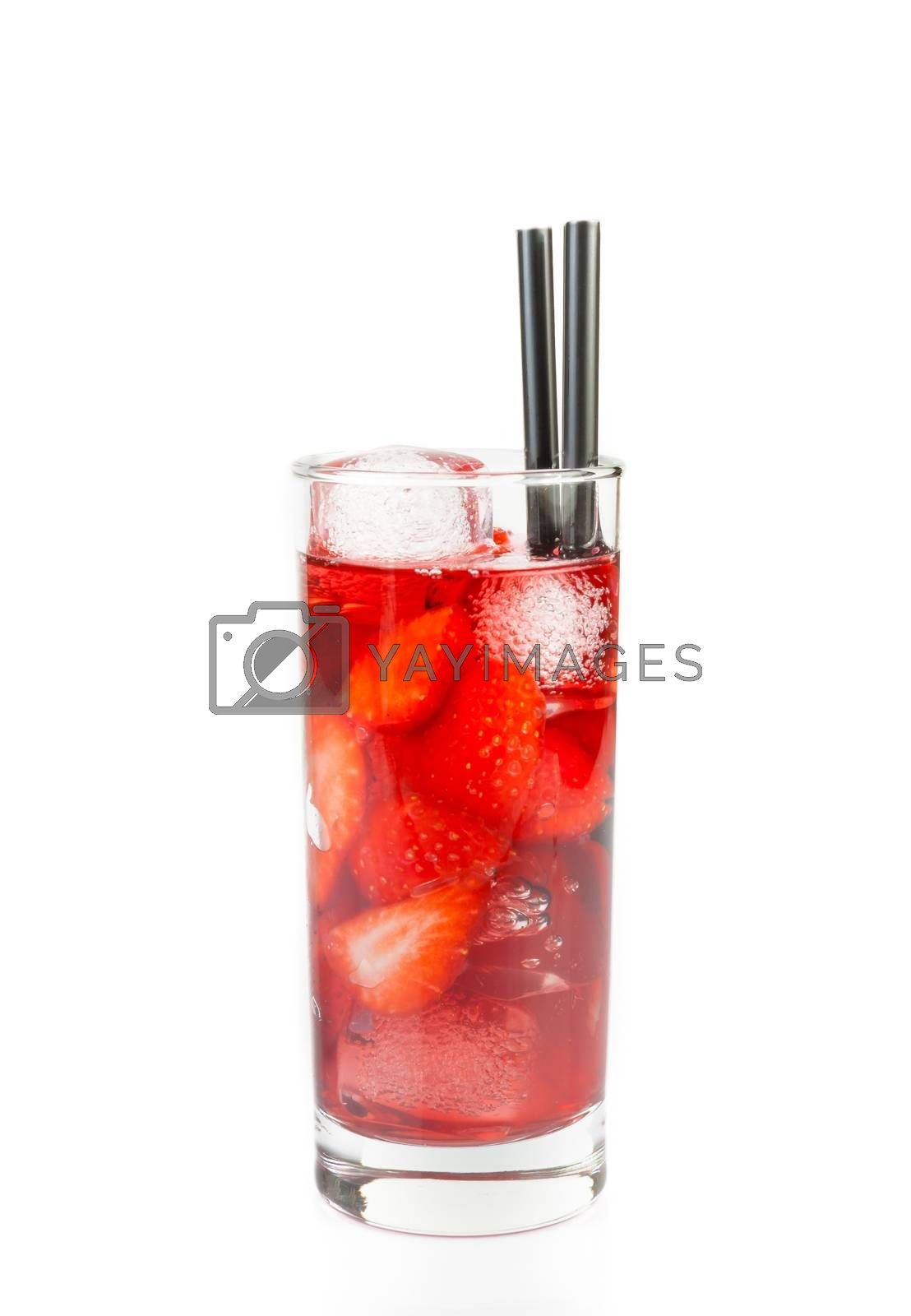 Strawberry cocktail with ice isolated by donfiore