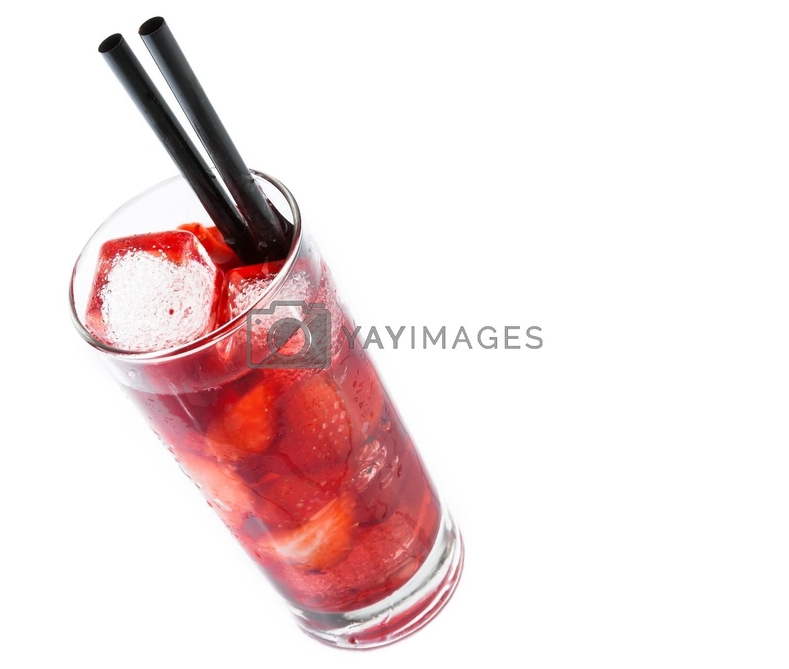Strawberry cocktail with ice isolated and space for text by donfiore