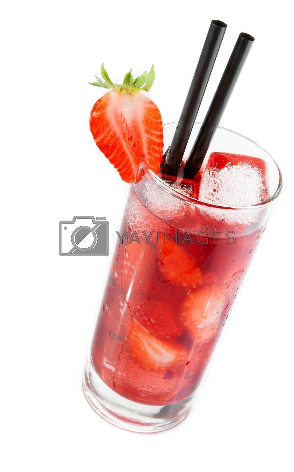 Strawberry cocktail with ice isolated with strawberry on top by donfiore