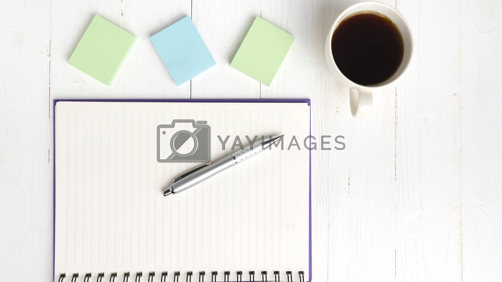 notepad and coffee cup by ammza12