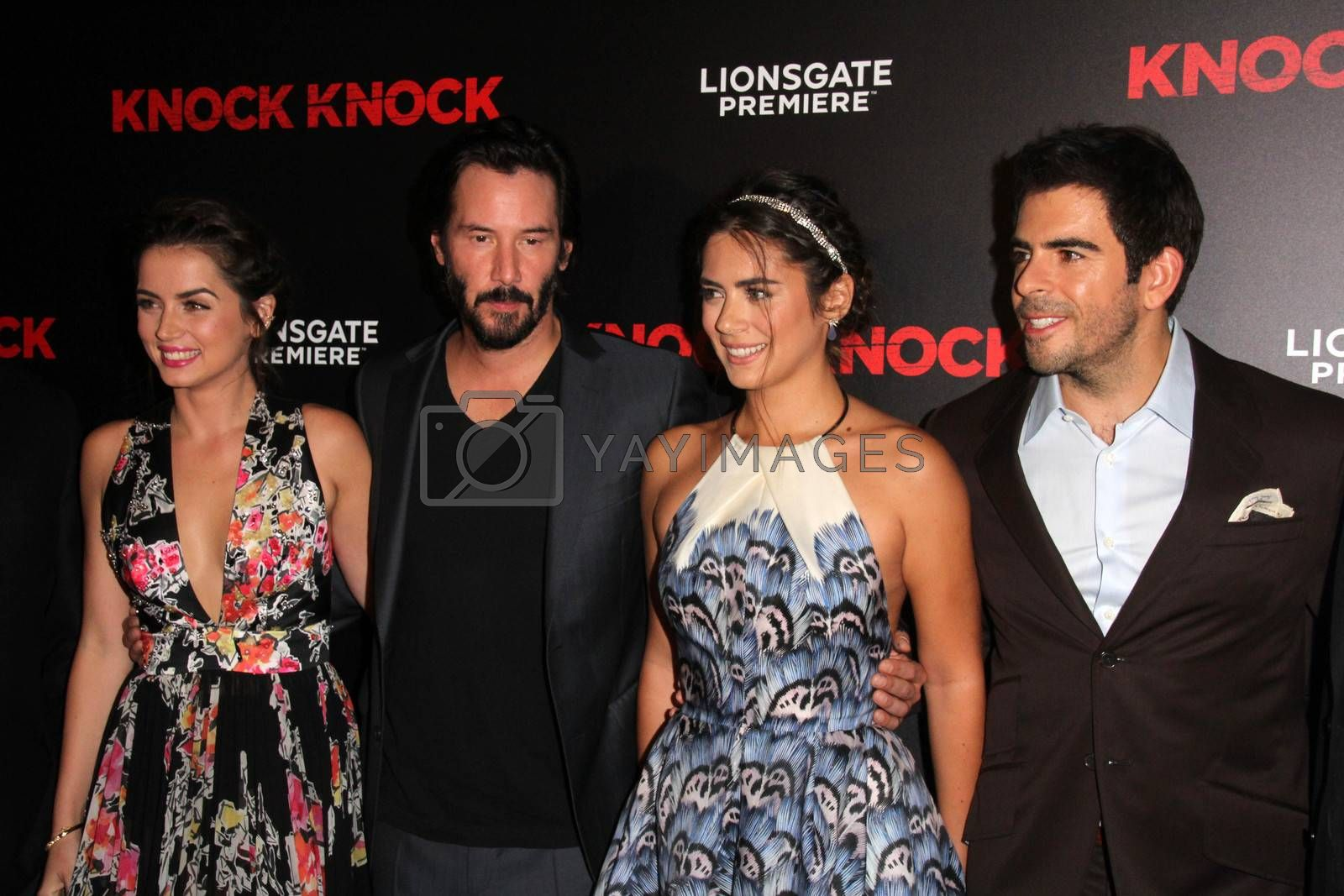 "Ana de Armas, Keanu Reeves, Lorenza Izzo, Eli Roth at the ""Knock Knock"" Los Angeles Premiere, TCL Chinese Theater, Hollywood, CA 10-08-15/ImageCollect by ImageCollect"