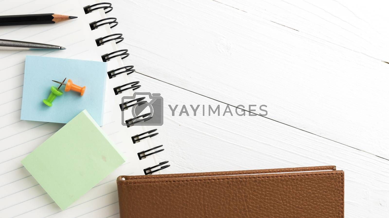 brown notebook with office supplies by ammza12