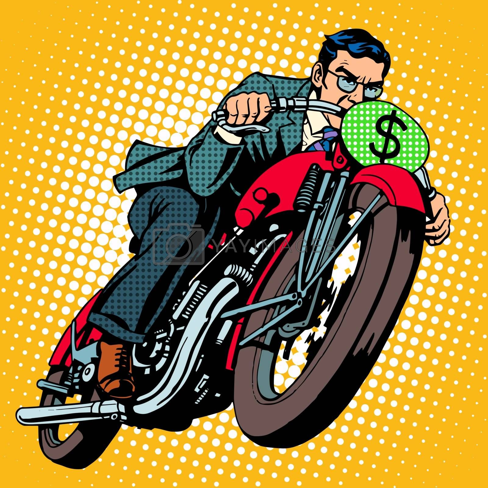 Businessman on a motorcycle. Financial success pop art retro style. The dollar sign instead of the number of transport