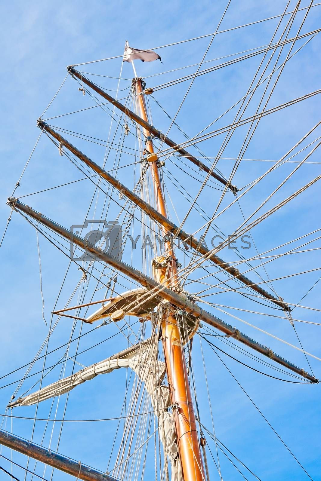 upwards view of a ship's masts by donfiore