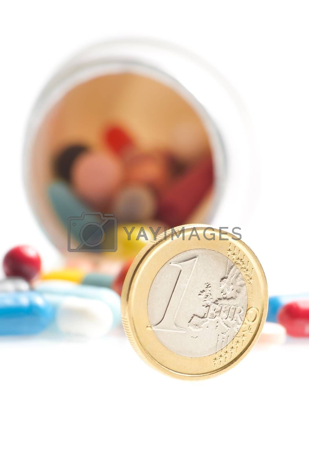 euro coin in front of white container on white background