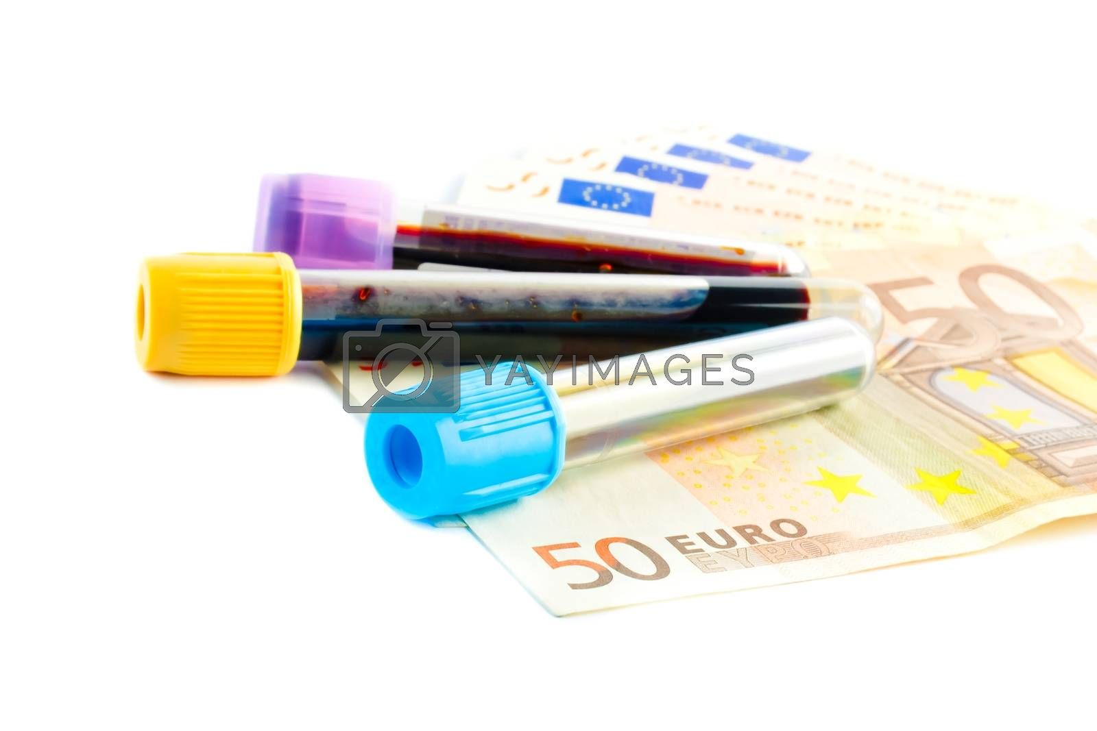 detail of medical tubes on the  50-euro banknotes