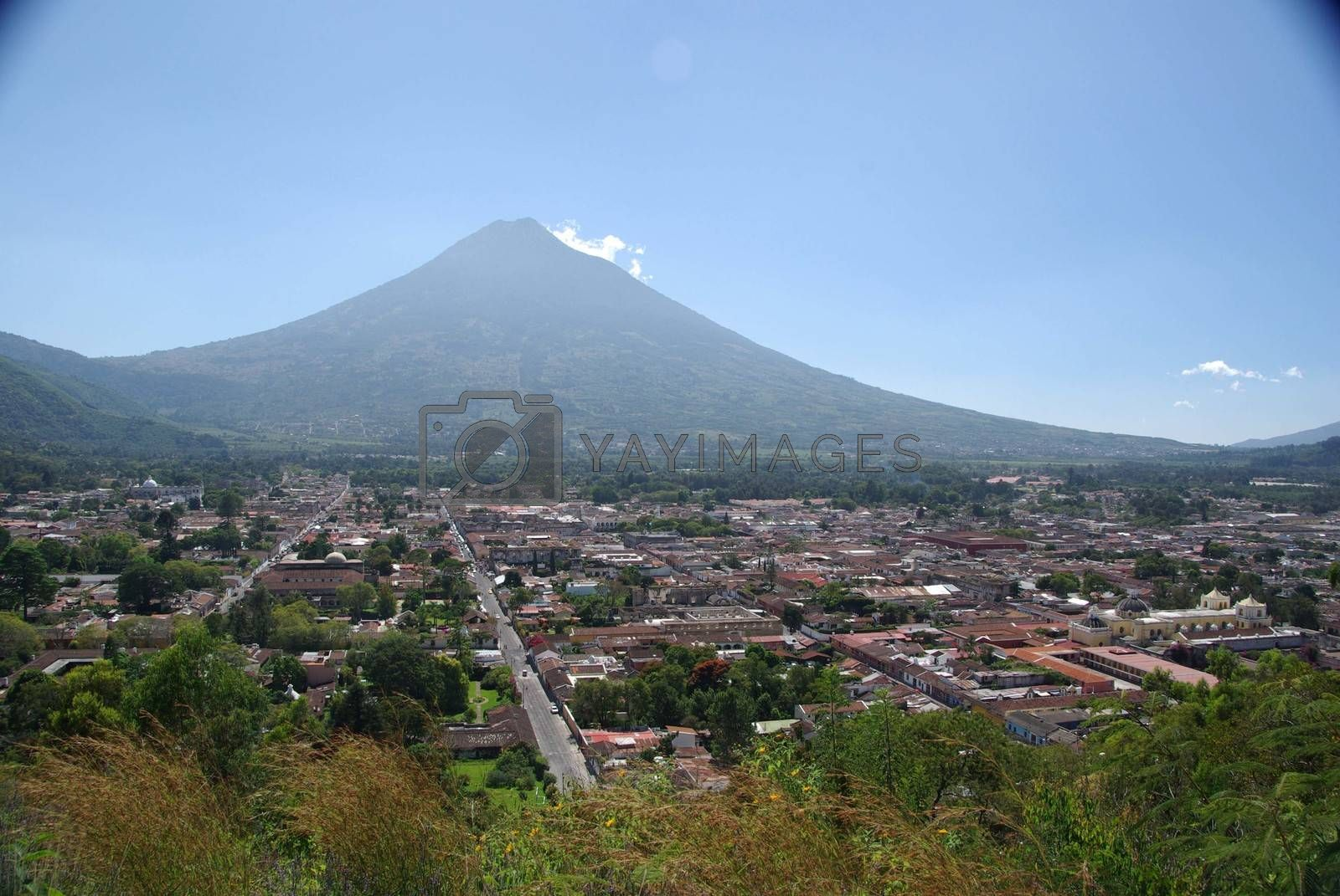 Volcano and the city of Antigua in Guatemala, Central America