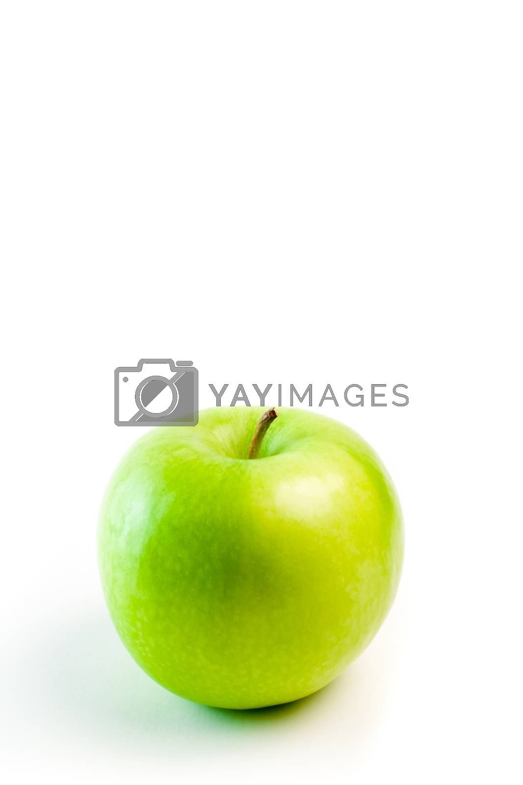 detail of green apple on white background