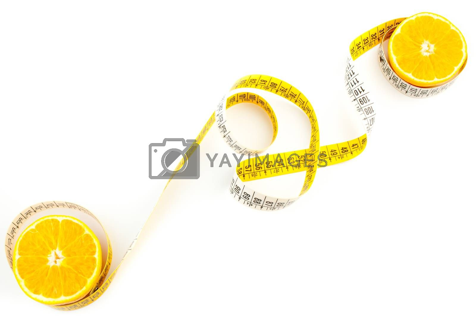 top view of the an orange with a measuring tape on white background