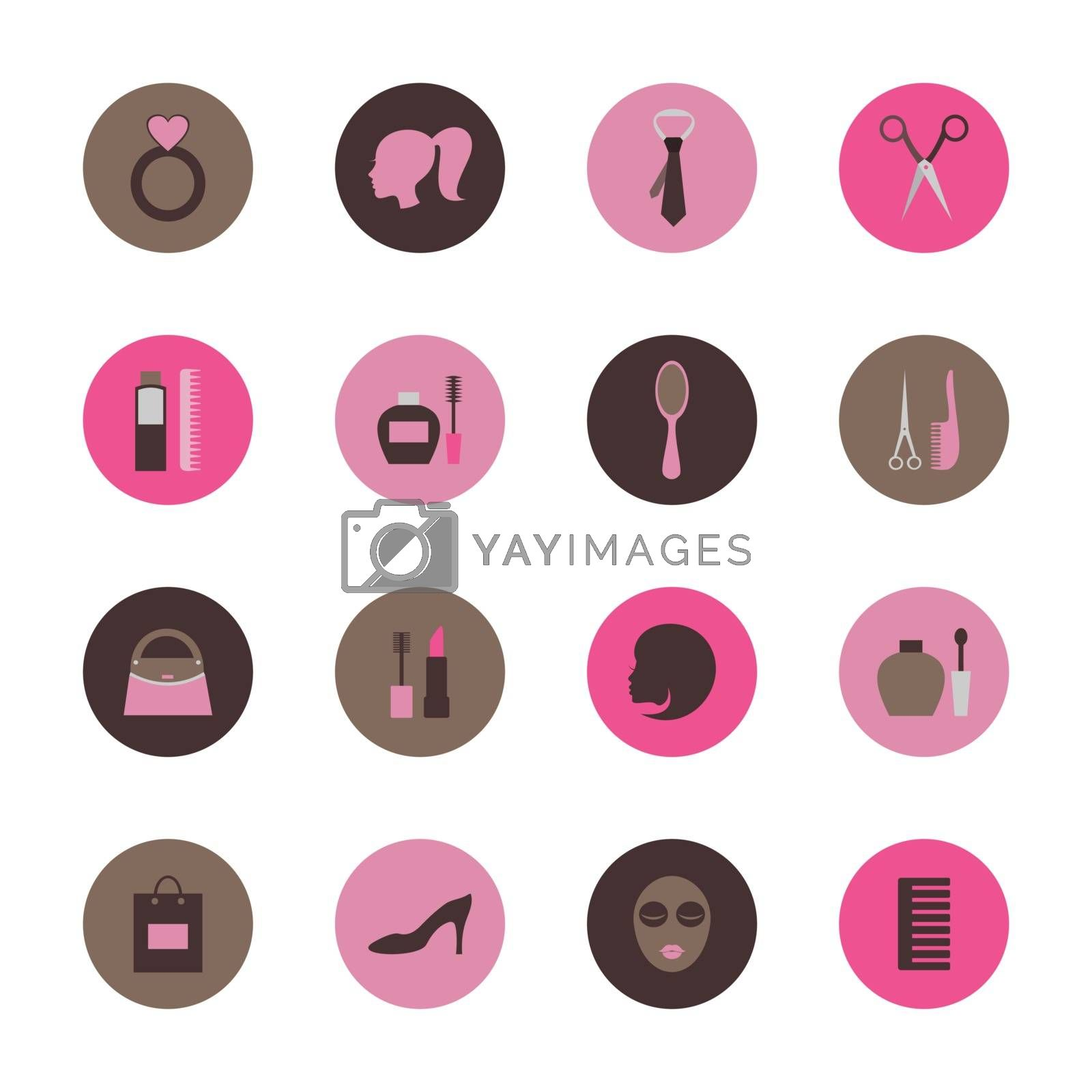 Set of flat icons on the theme of fashion. Vector illustration