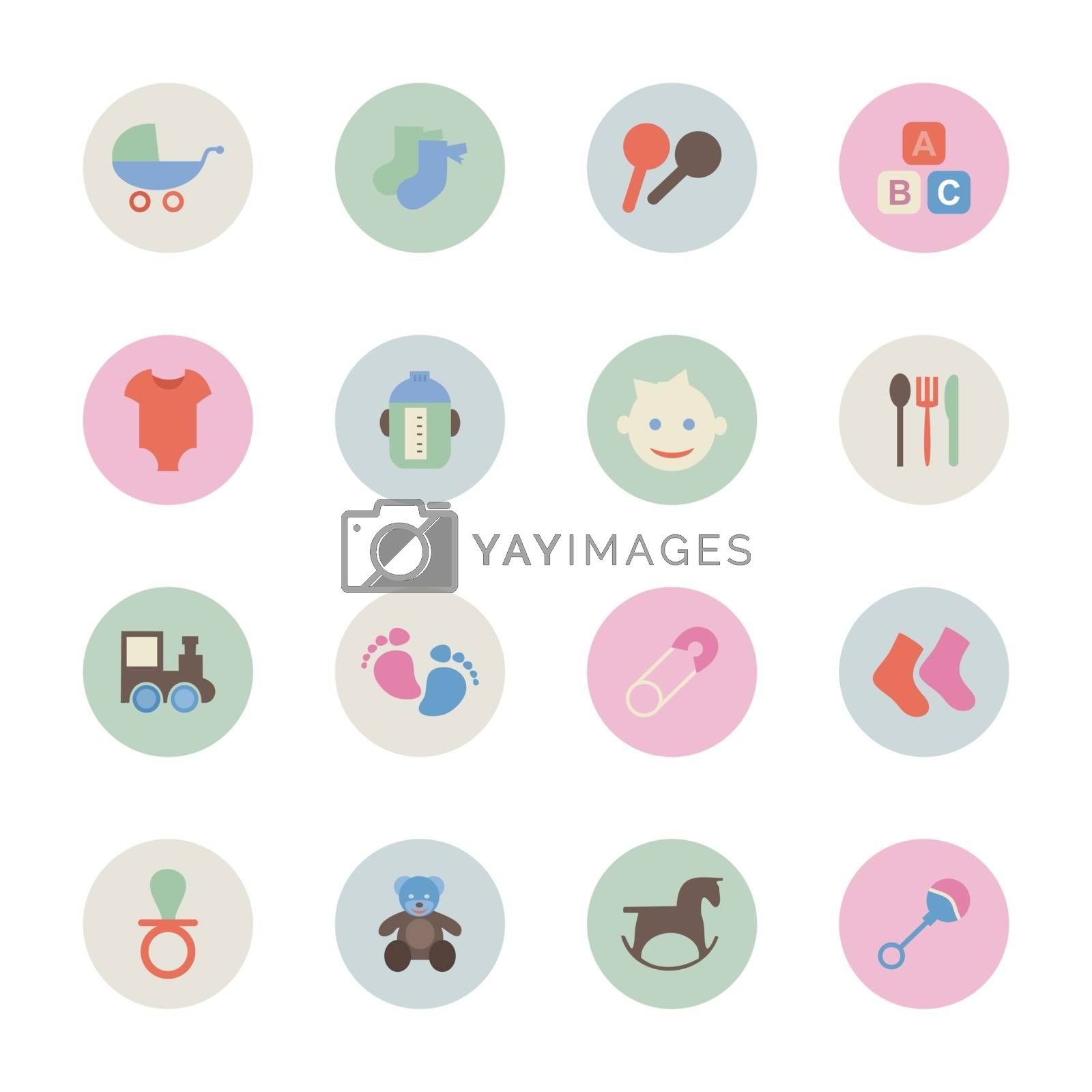 Set of flat icons on the theme of children. Vector illustration