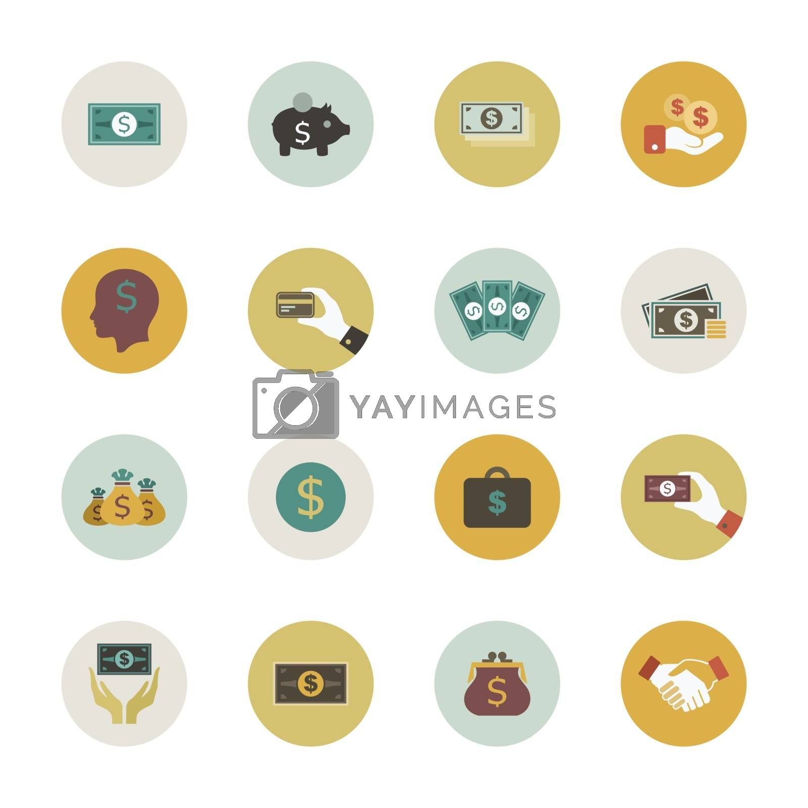 Set of flat icons on the theme of money. Vector illustration