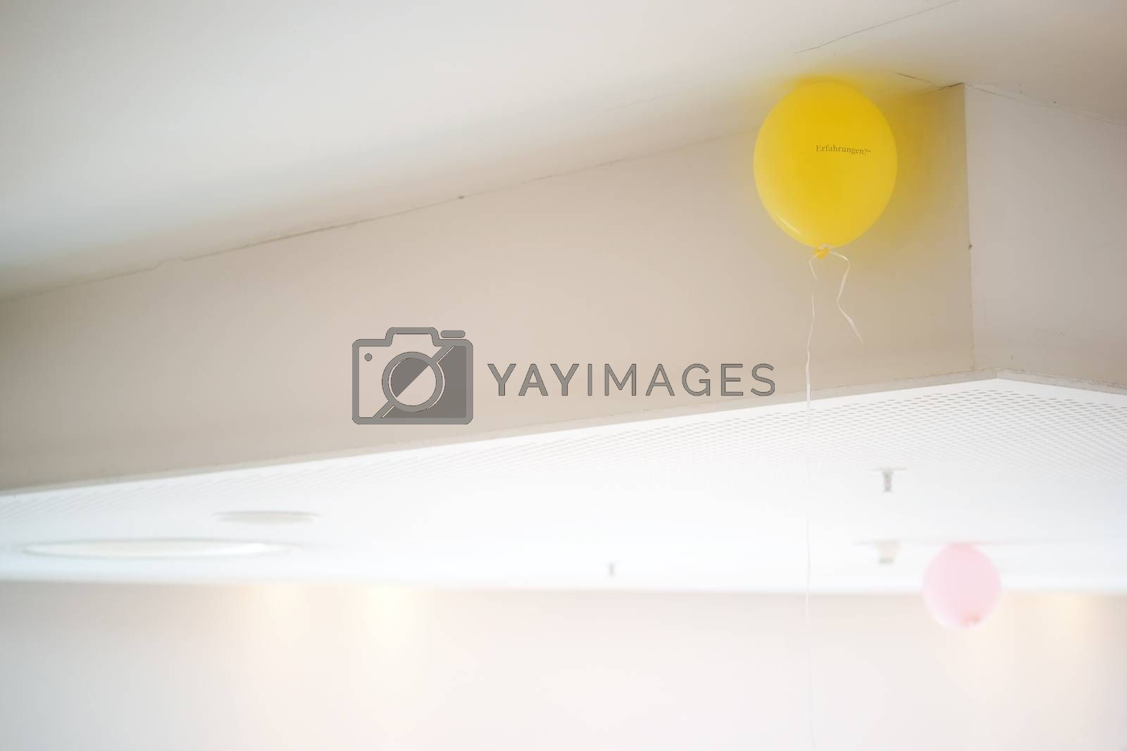 Two balloons on a ceiling with plates and panels and a sprinkler system.