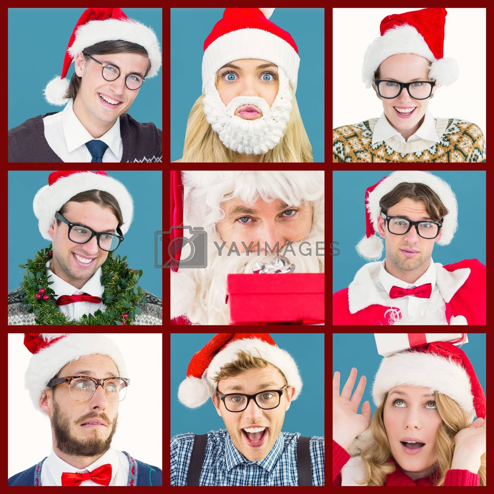 Composite image of smiling santa young woman with gift on her head