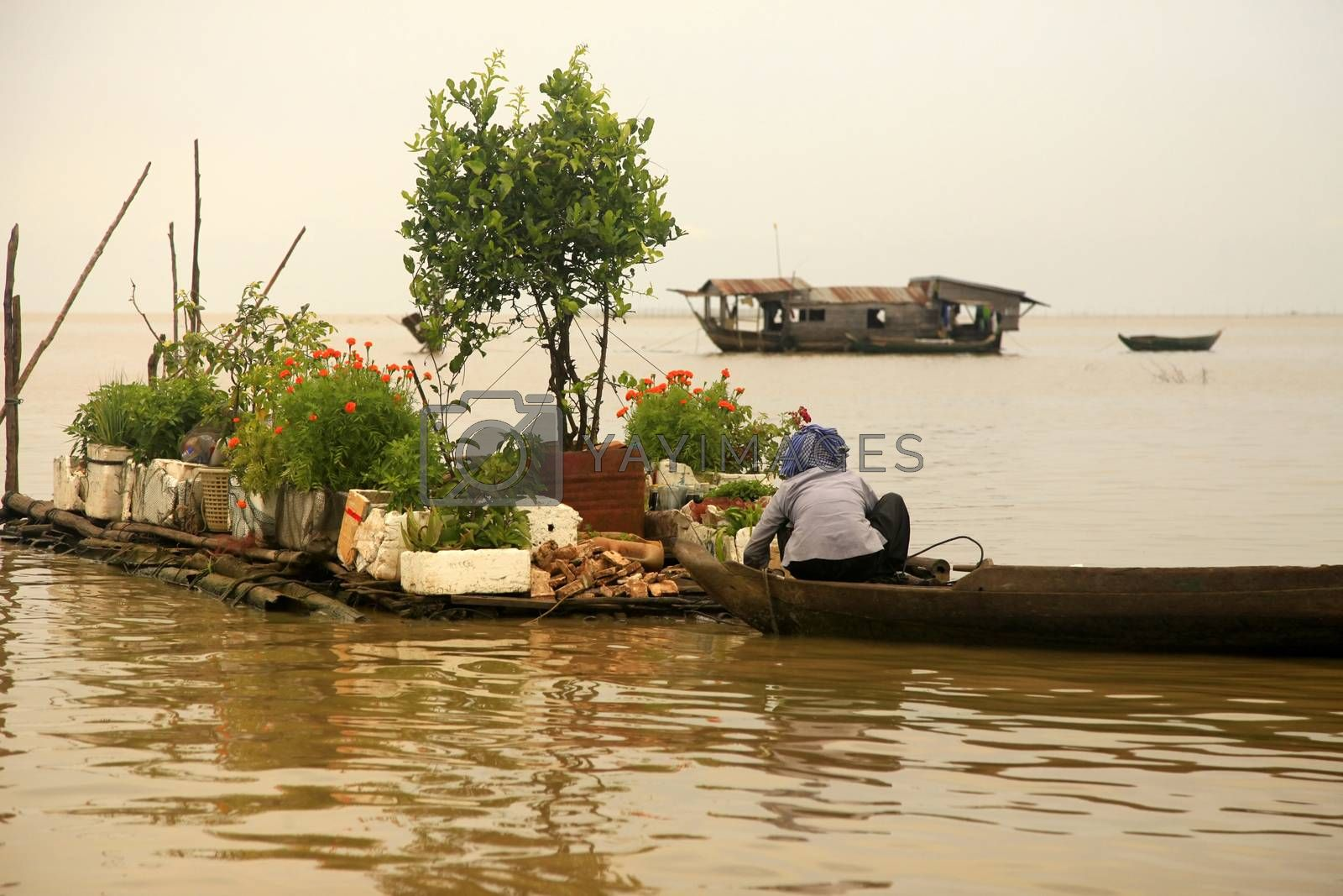 SIEM REAP, CAMBODIA - APRIL 06, 2014: An unidentified woman on a floating village on Tonle Sap lake in Siem Reap, Cambodia on April 06, 2014.