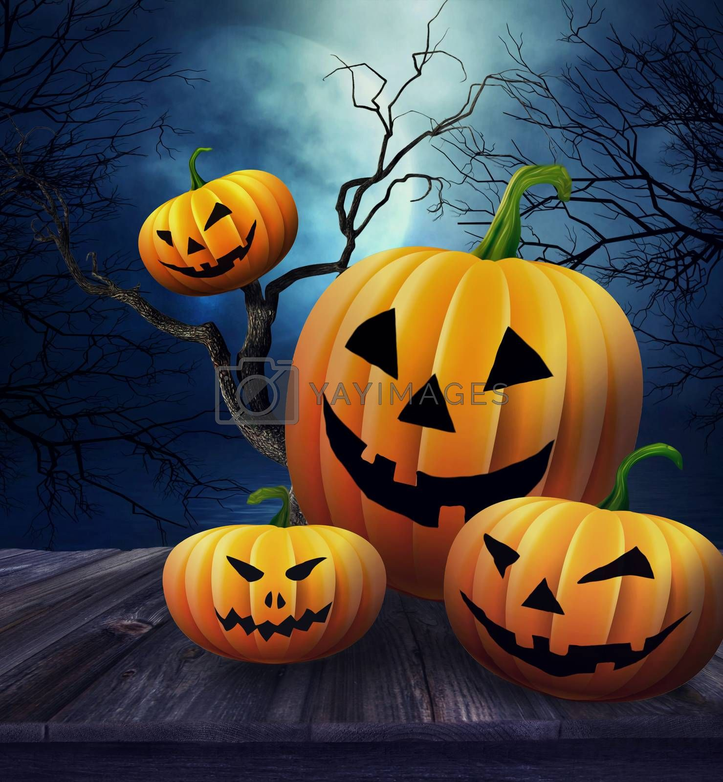 Pumpkins on wooden table  with Halloween background