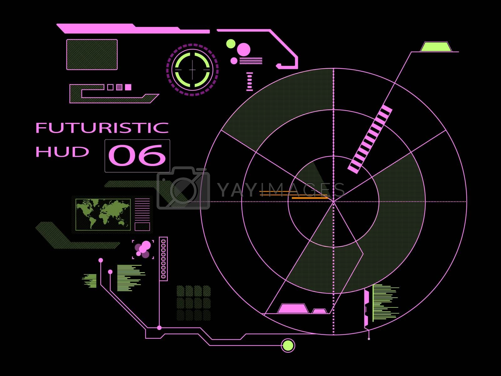Abstract future, concept vector futuristic virtual graphic touch user interface HUD, raster version