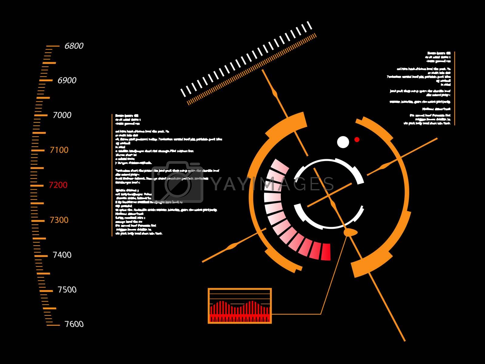 Abstract future, concept vector futuristic orange virtual graphic touch user interface HUD, raster version