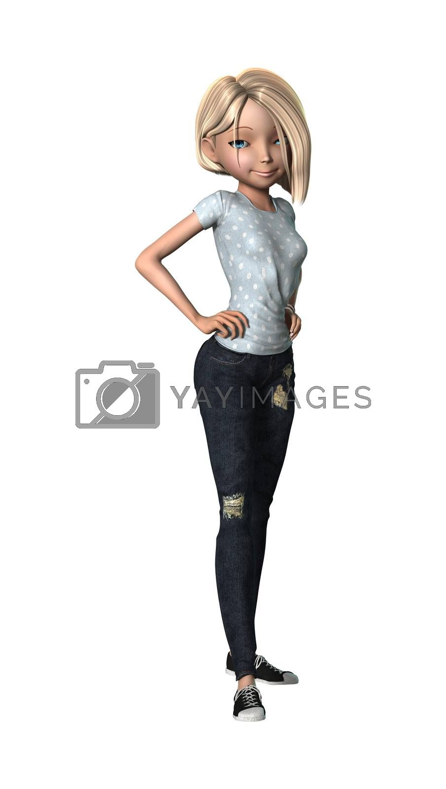 3D digital render of a pretty cartoon girl isolated on white background