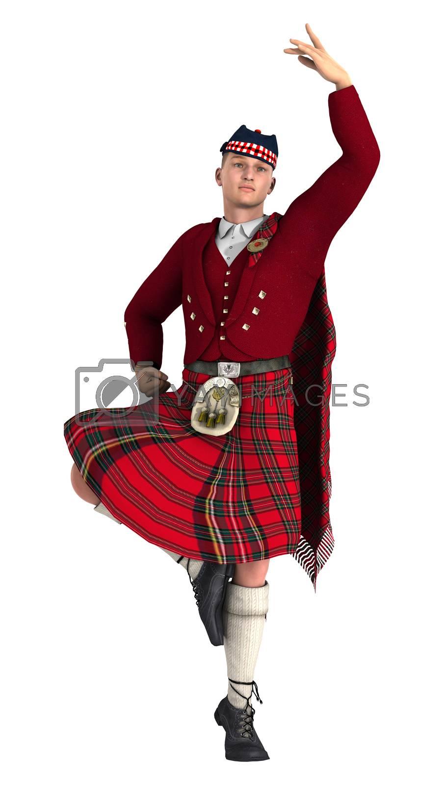 3D digital render of a highlander dancing isolated on white background