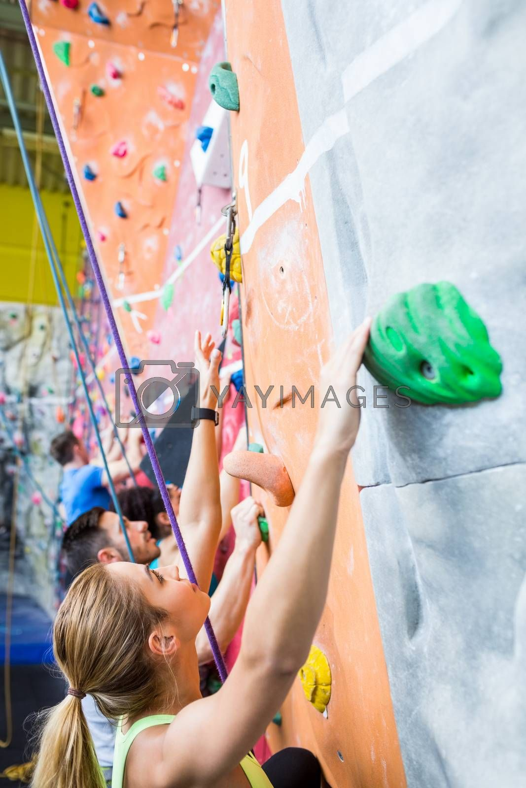 Fit people rock climbing indoors at the gym