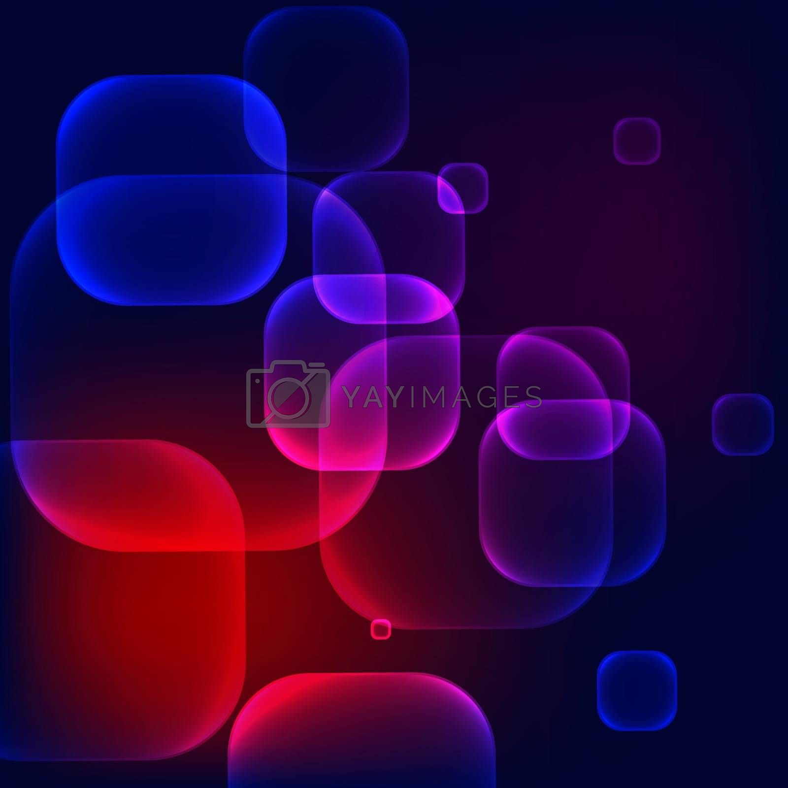 Abstract vector dark colorful squared bubbles background