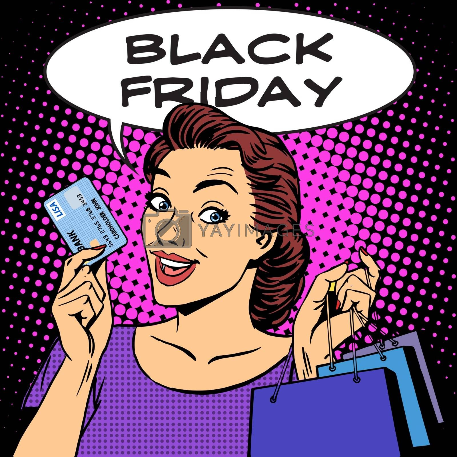 Black Friday woman with business card discounts pop art retro style. Sale buy shopping