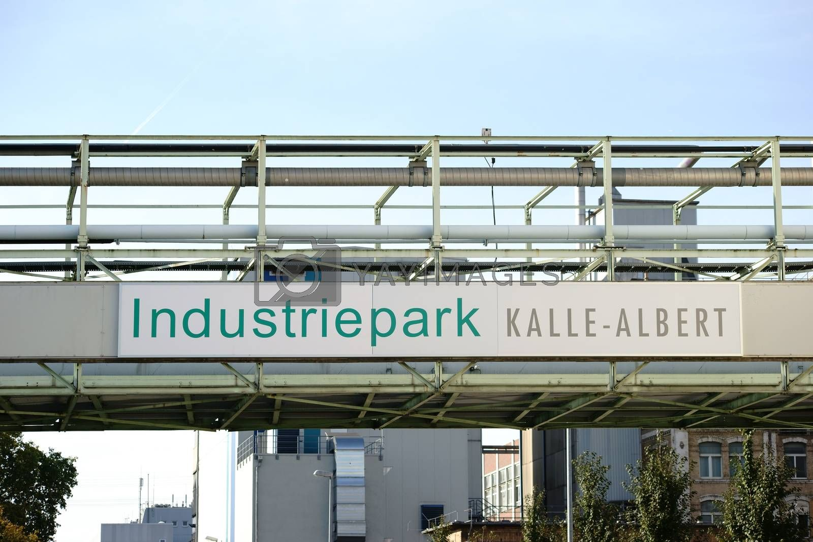 Wiesbaden, Germany - October 02, 2015: The entrance sign of the industrial park Kalle-Albert of the Hoechst AG on October 02, 2015 in Wiesbaden.