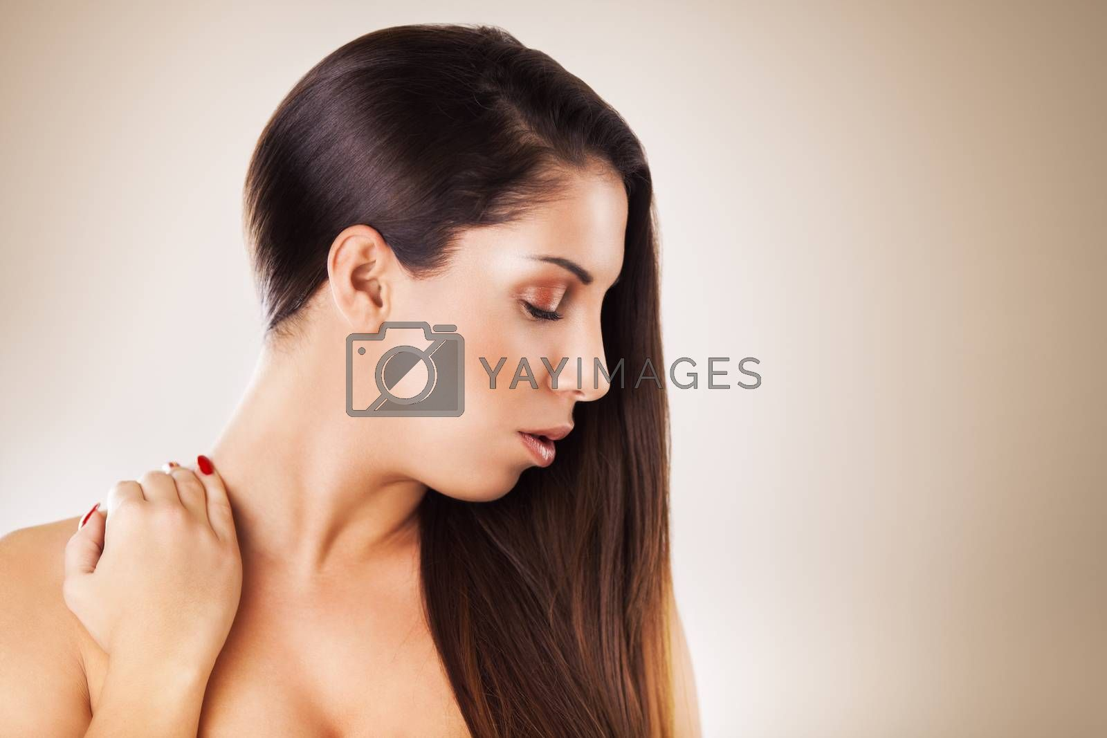 Beauty portrait of a young, beautiful caucasian woman.