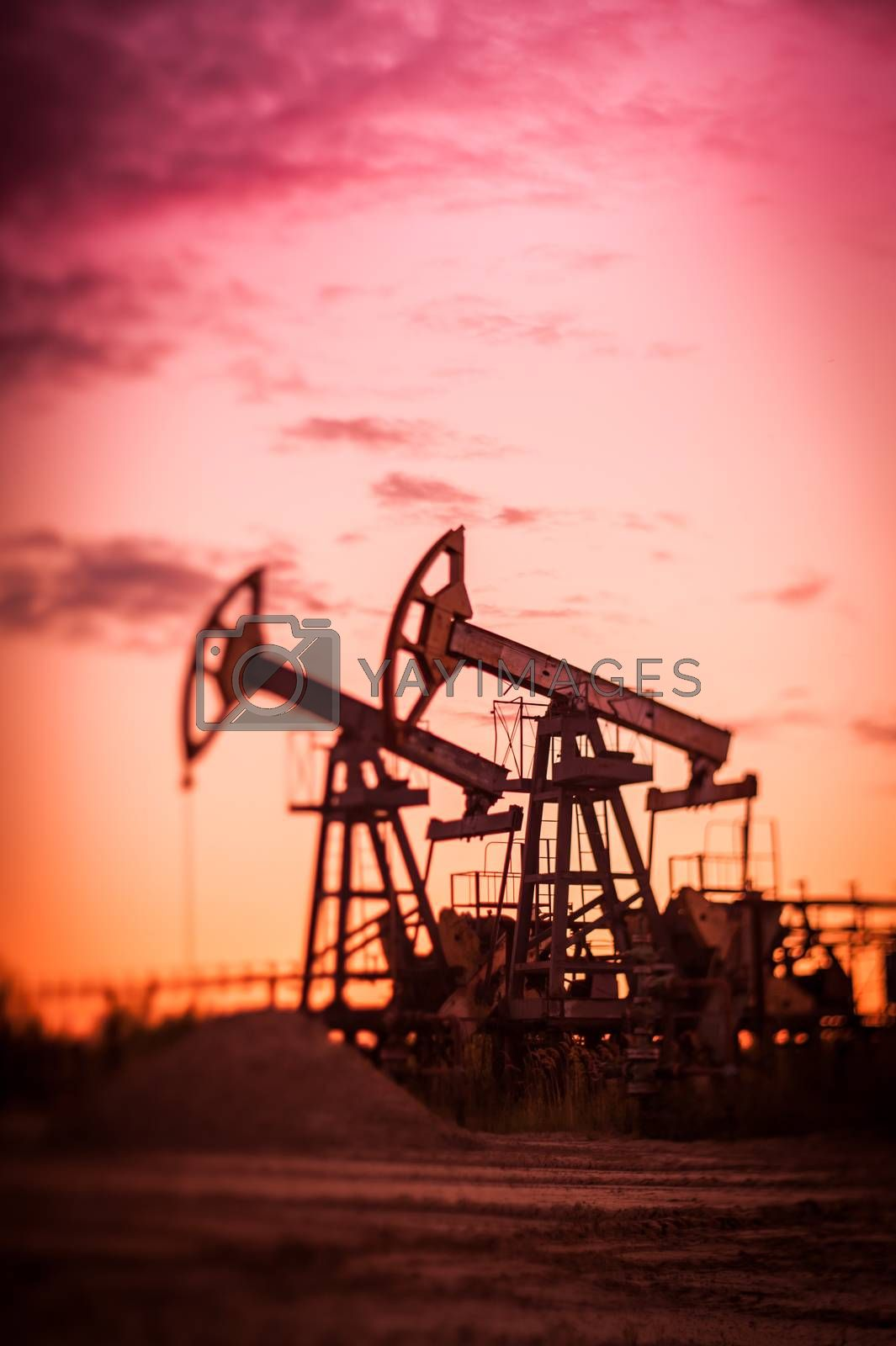 Oil pump jacks at sunset sky background. Selective focus, shallow depth of field
