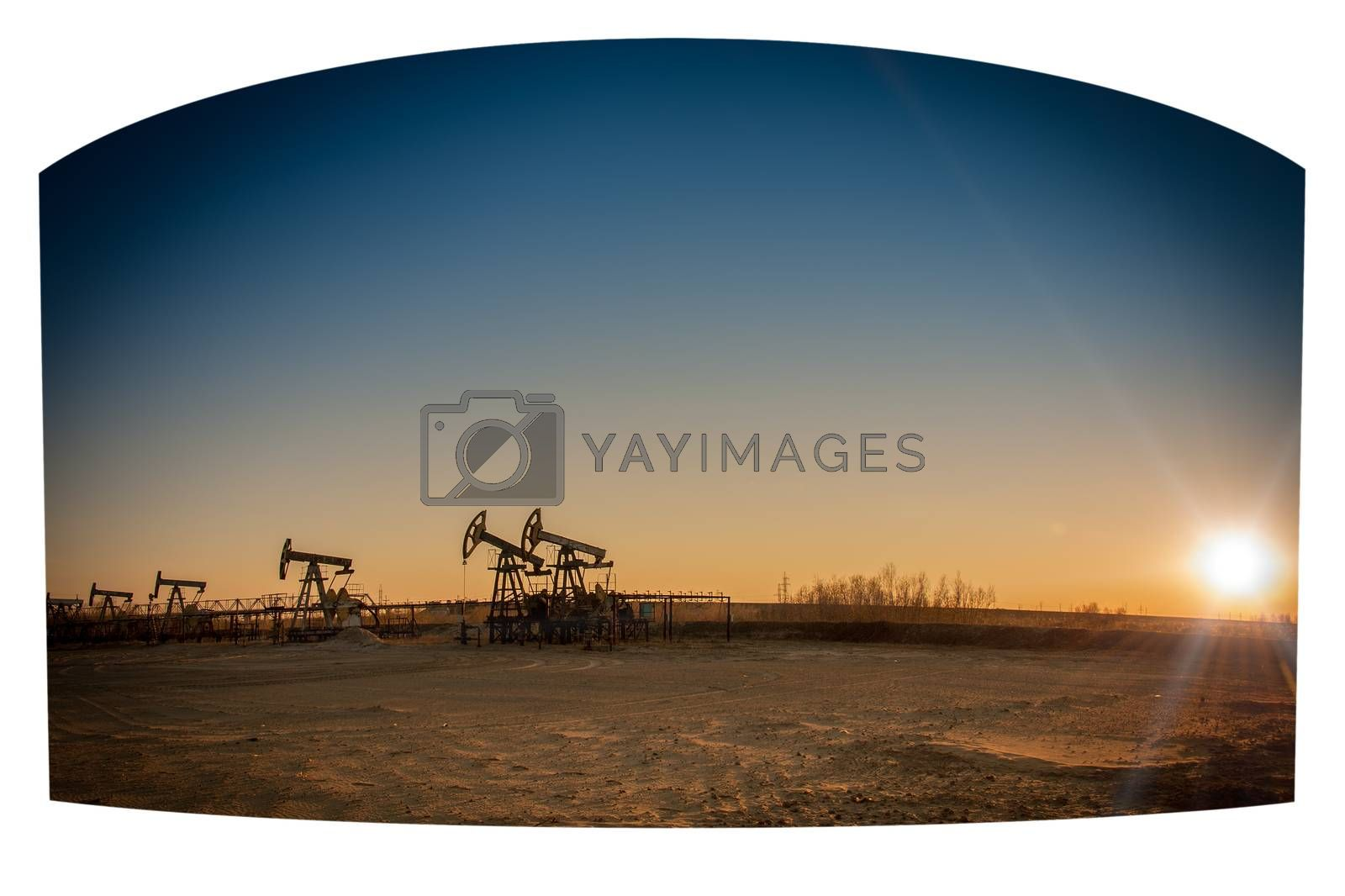 Oil pumps on the sunset sky background.