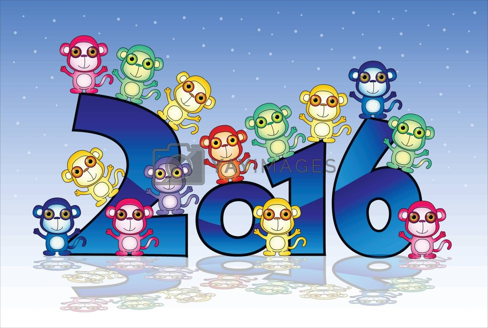 Happy New Year card with monkey