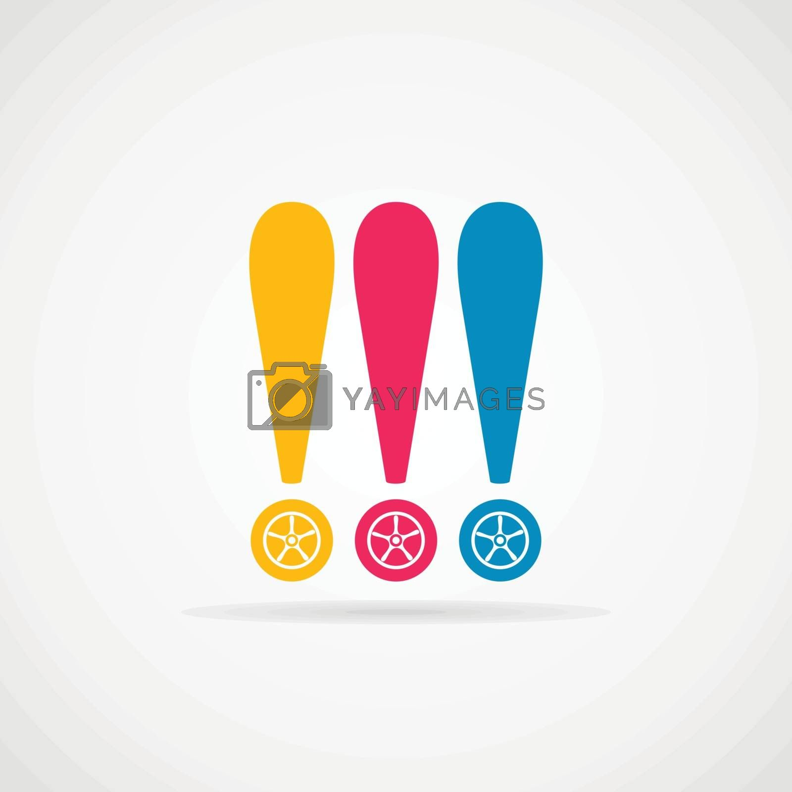 Exclamation mark the wheel of the car. Vector illustration