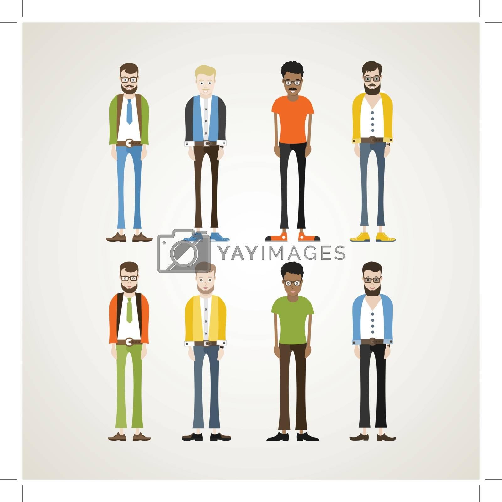 Male cartoon characters. Vector illustration