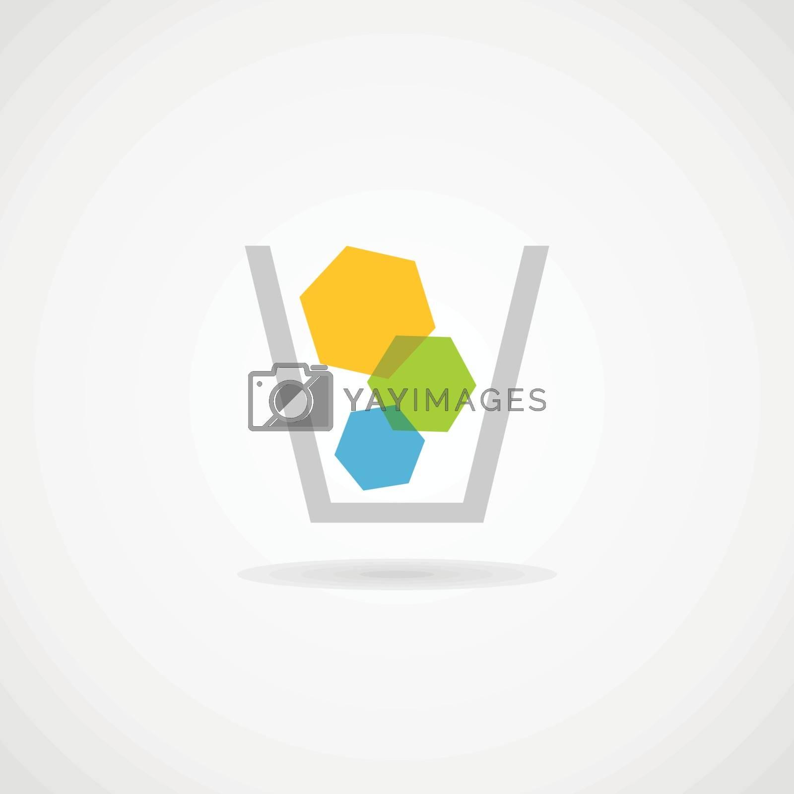 The basket of garbage. Vector illustration
