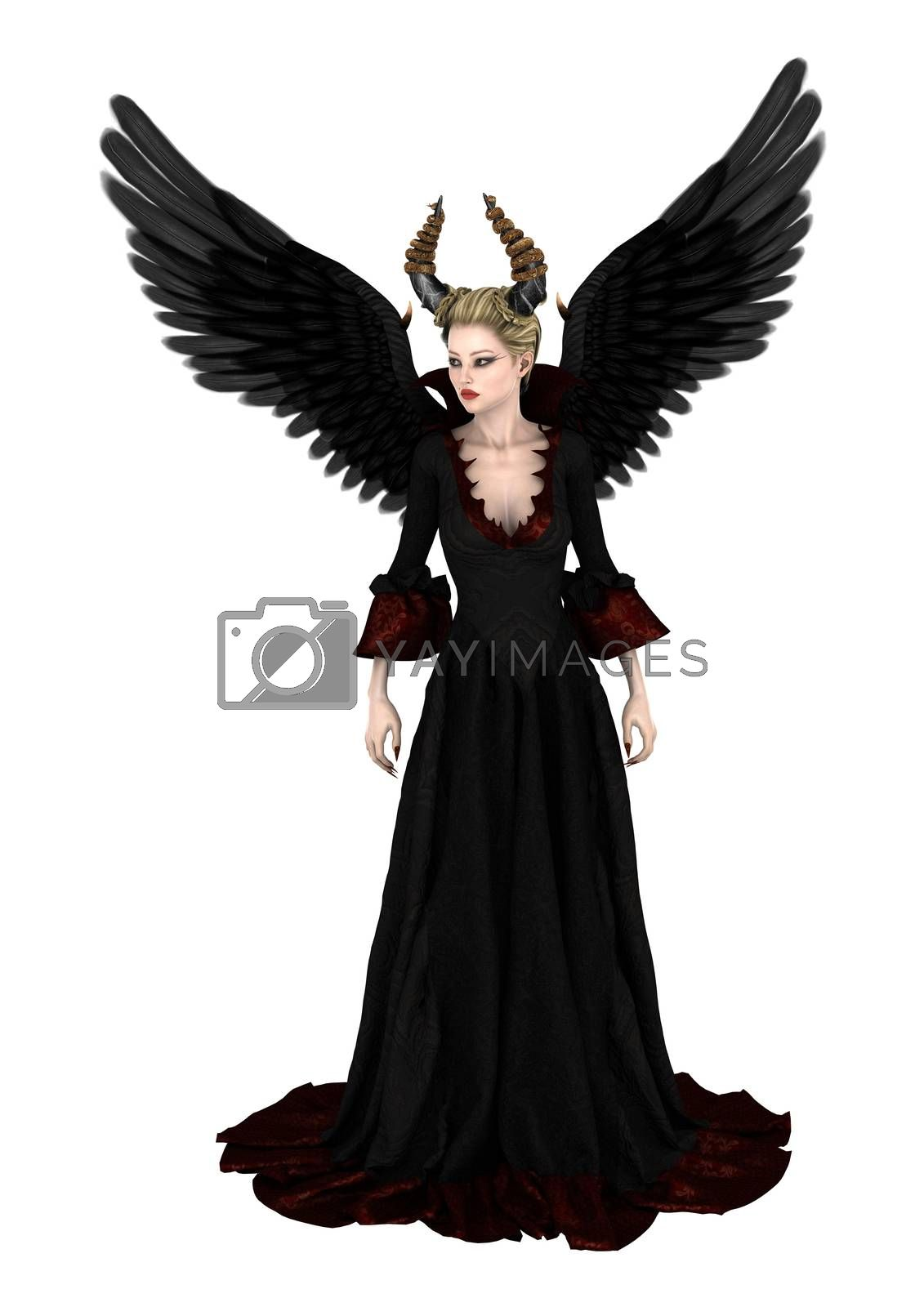 3D digital render of an evil queen isolated on white background