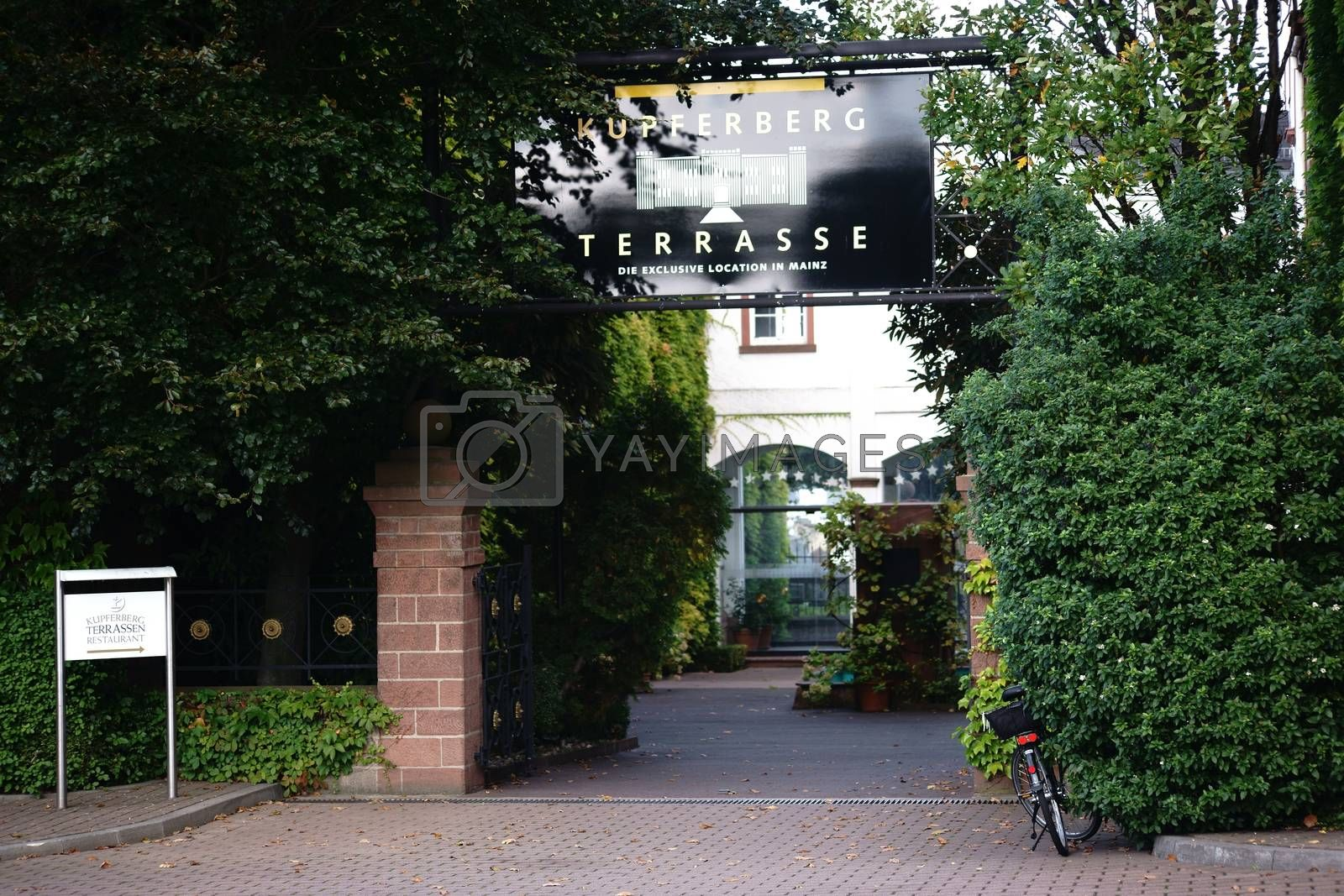 Mainz, Germany - September 19, 2015: The entrance to the Kupferberg terraces with a restaurant and the company Kupferberg seat on September 19, 2015 Mainz.