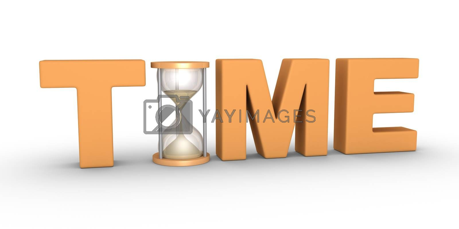TIME word with an hourglass included in the letters