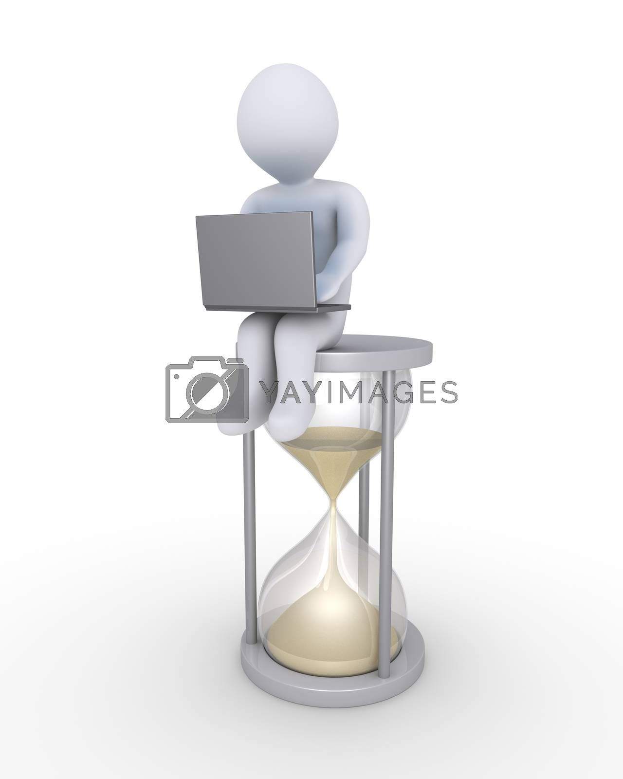 Person with laptop is sitting on a big hourglass