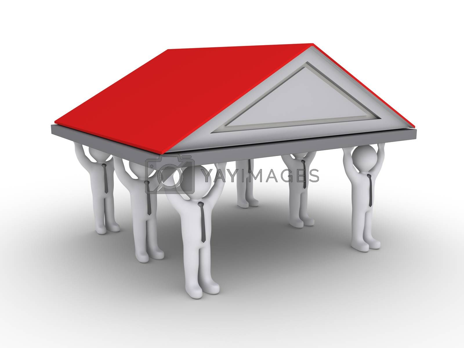 Businessmen as columns are holding high a roof of a house