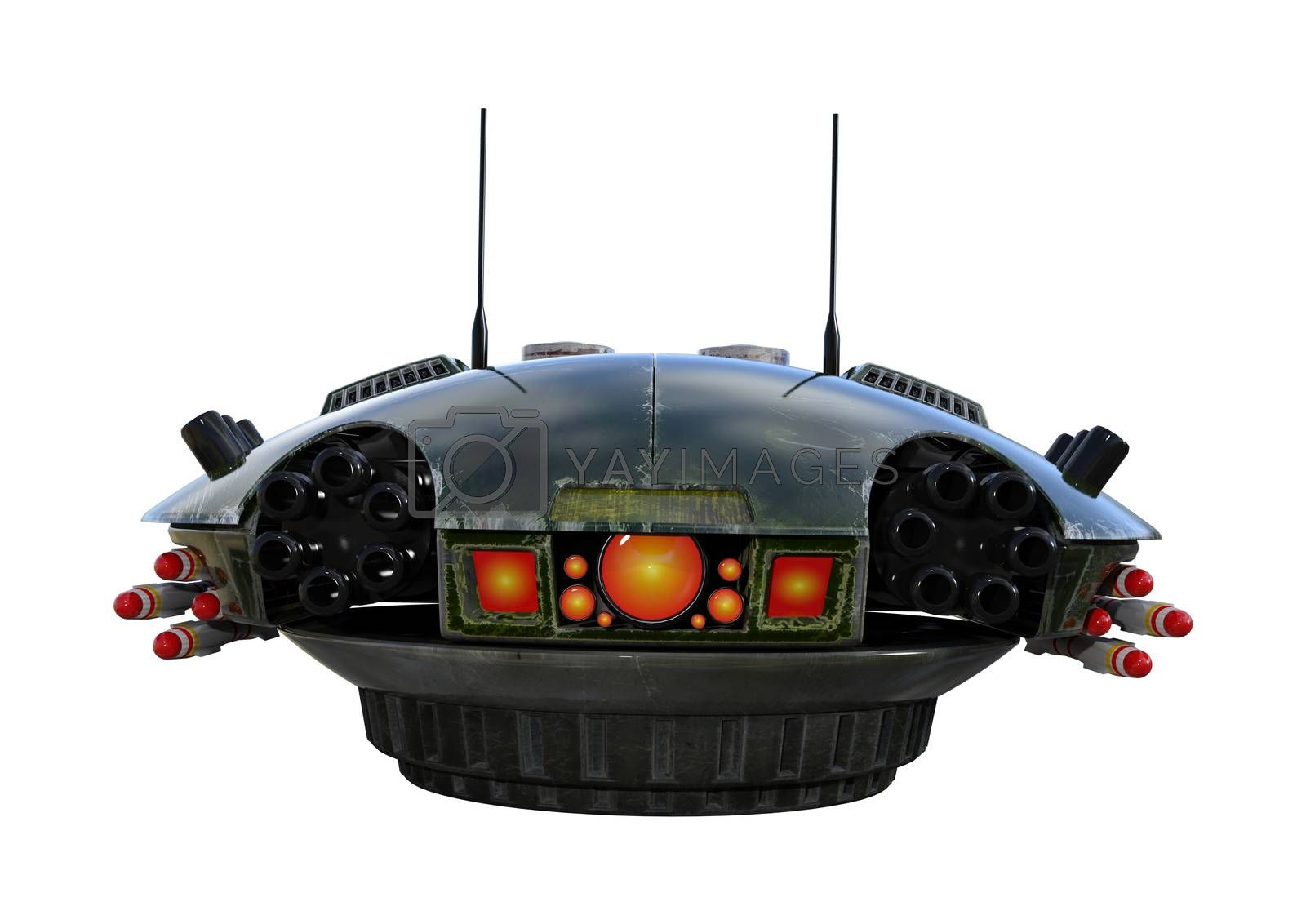 3D digital render of a sci-fi drone isolated on white background