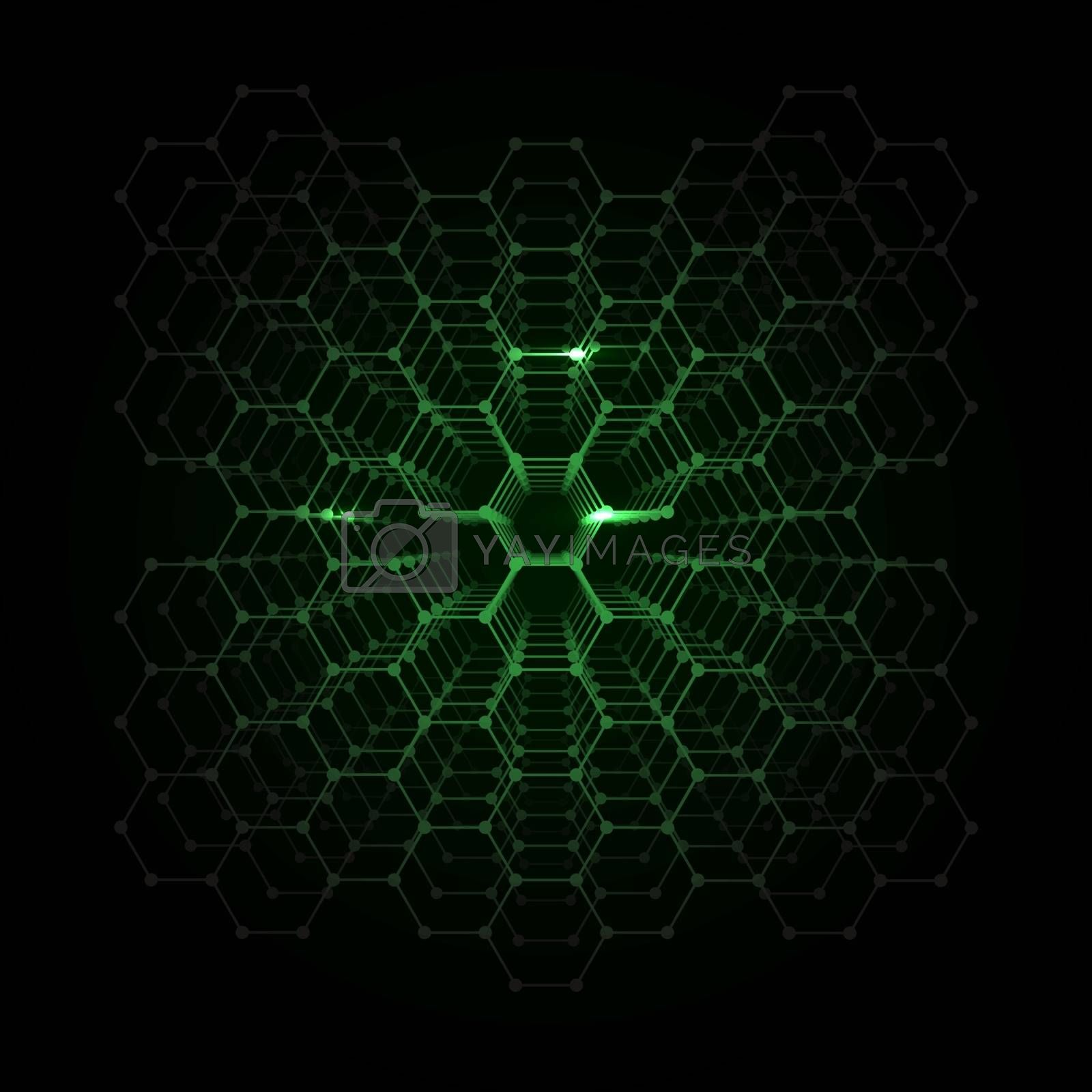 Abstract Vector Futuristic Honeycomb Pattern Background for Cover Design