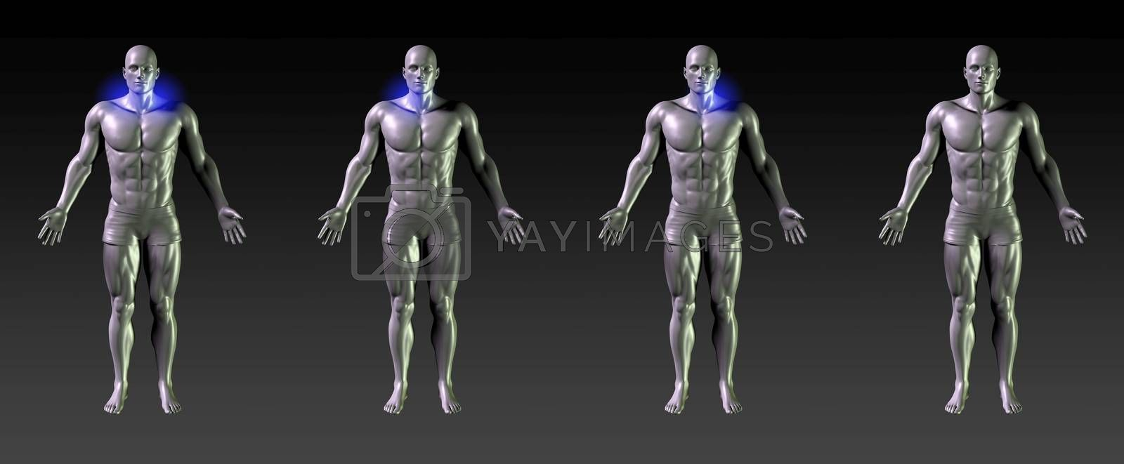 Neck Recovery or Rehabilitation with Blue Glow