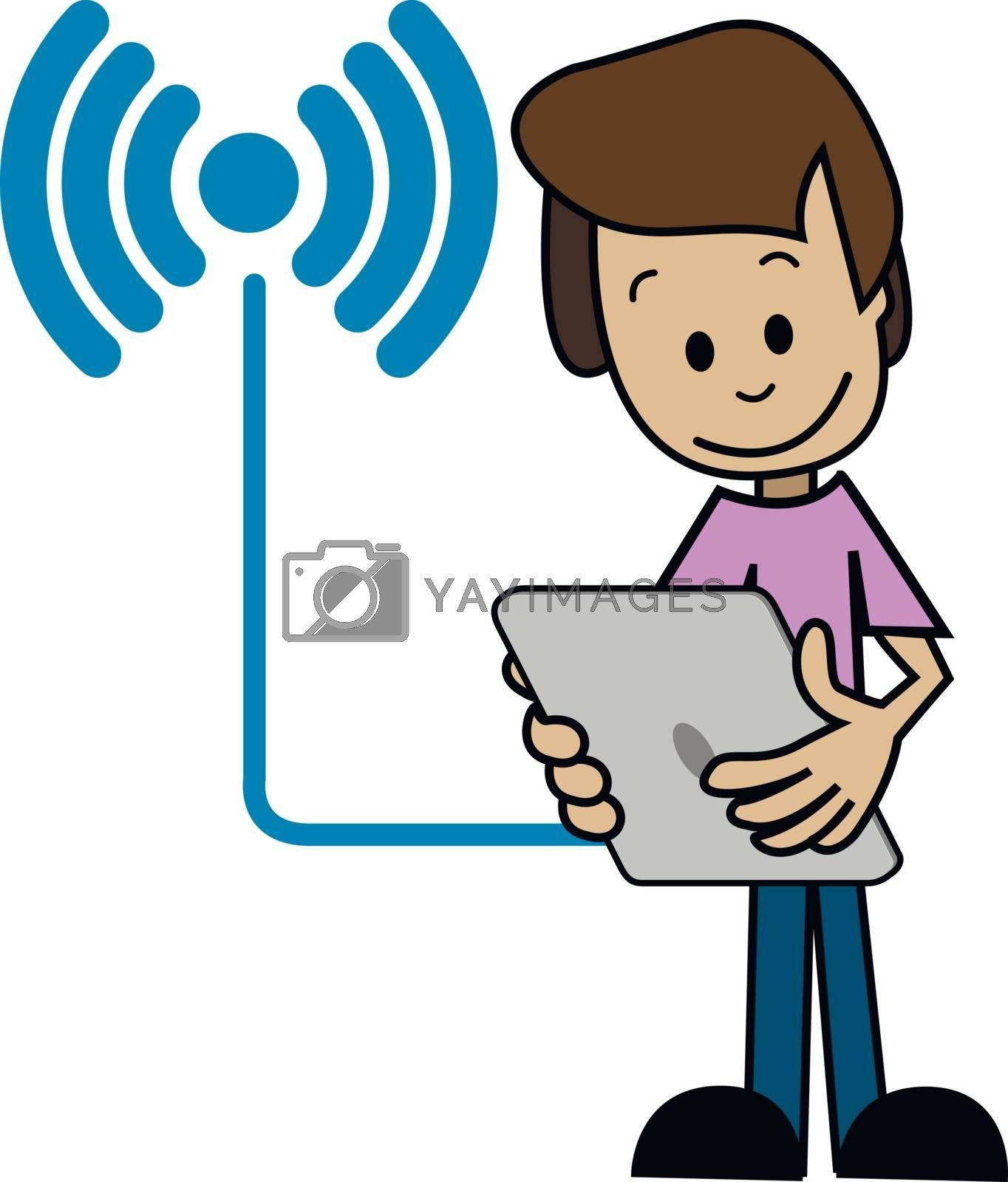 Illustration of a cartoon man with a tablet
