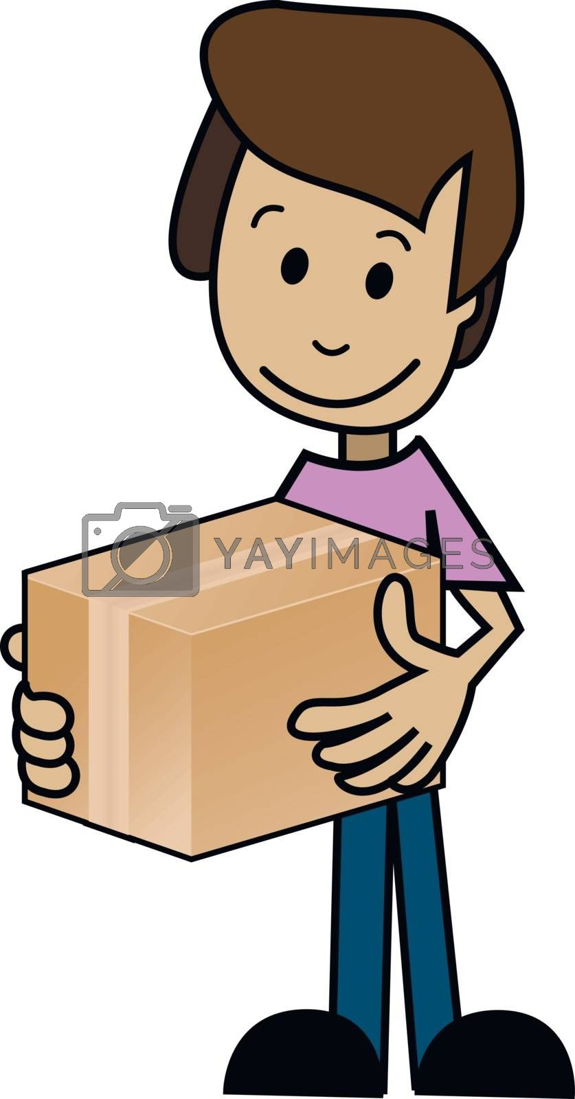 Illustration of a cartoon man with the box