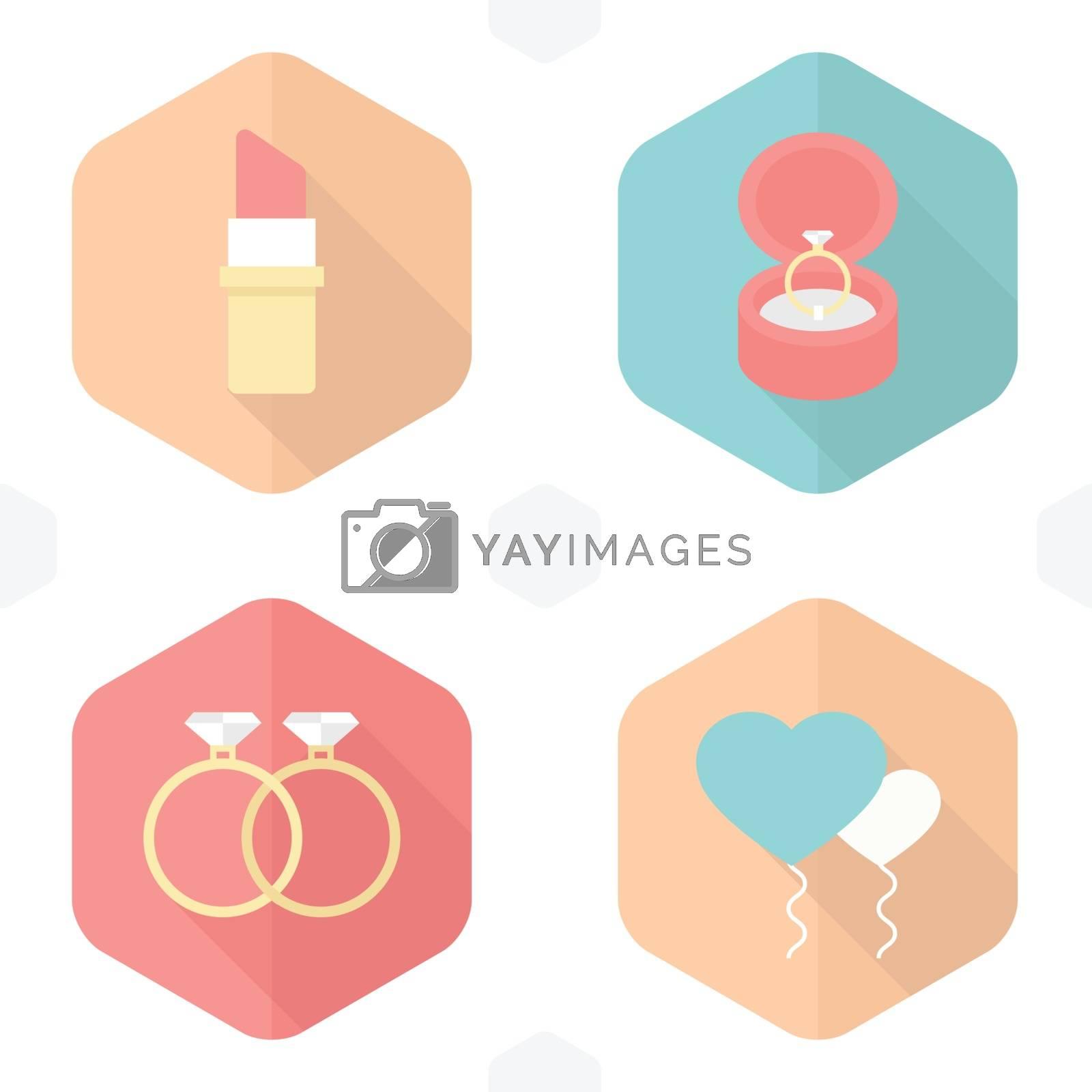 wedding symbols lipstick, rings, gifts, balloons,  Heart