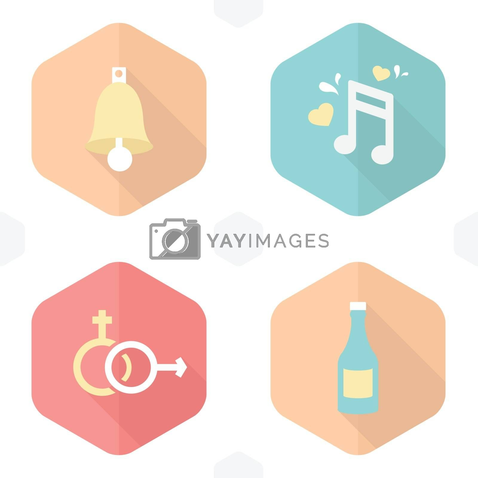 wedding symbols bells, music, gender, drink