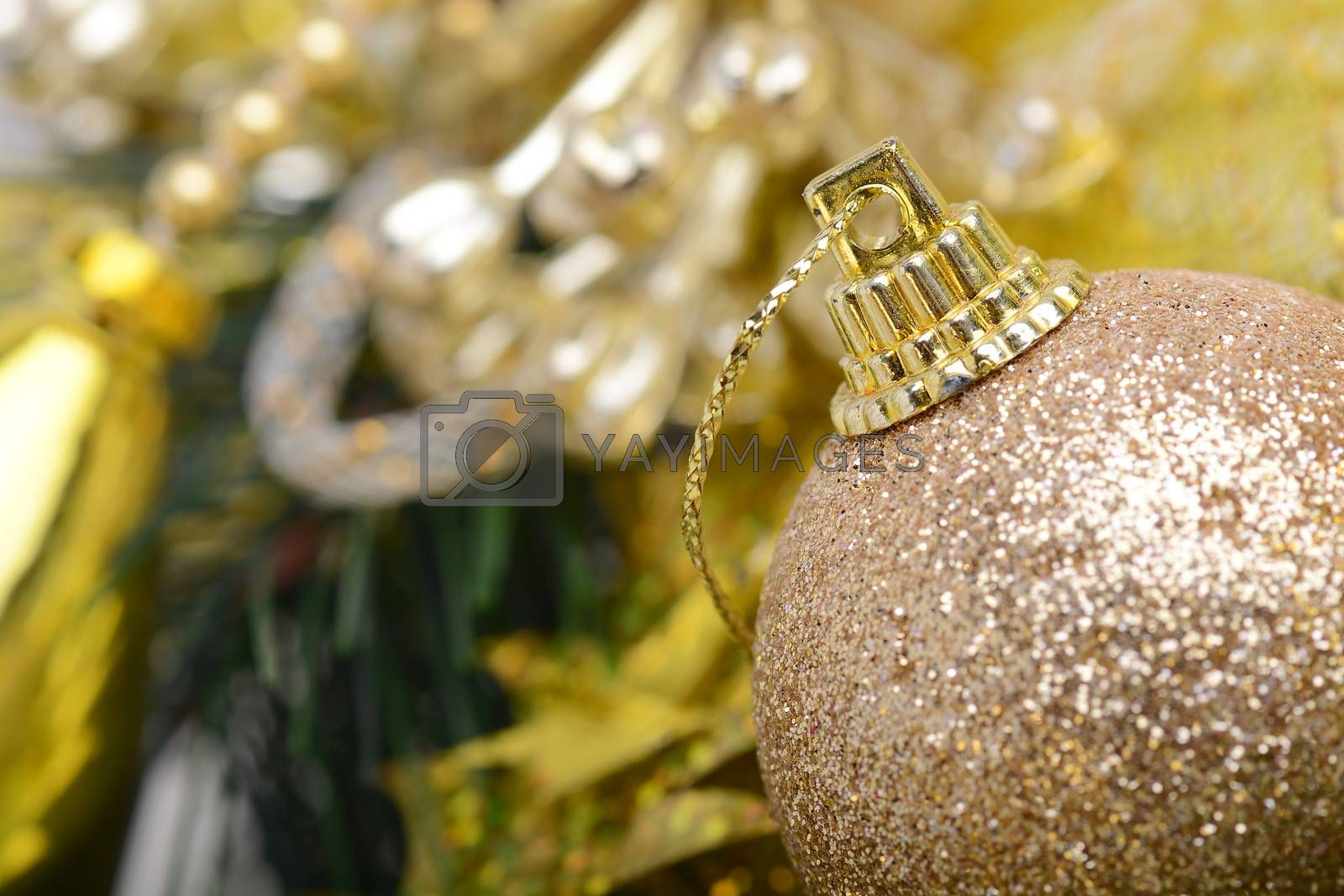 Ball shape Christmas decoration and real tree branch