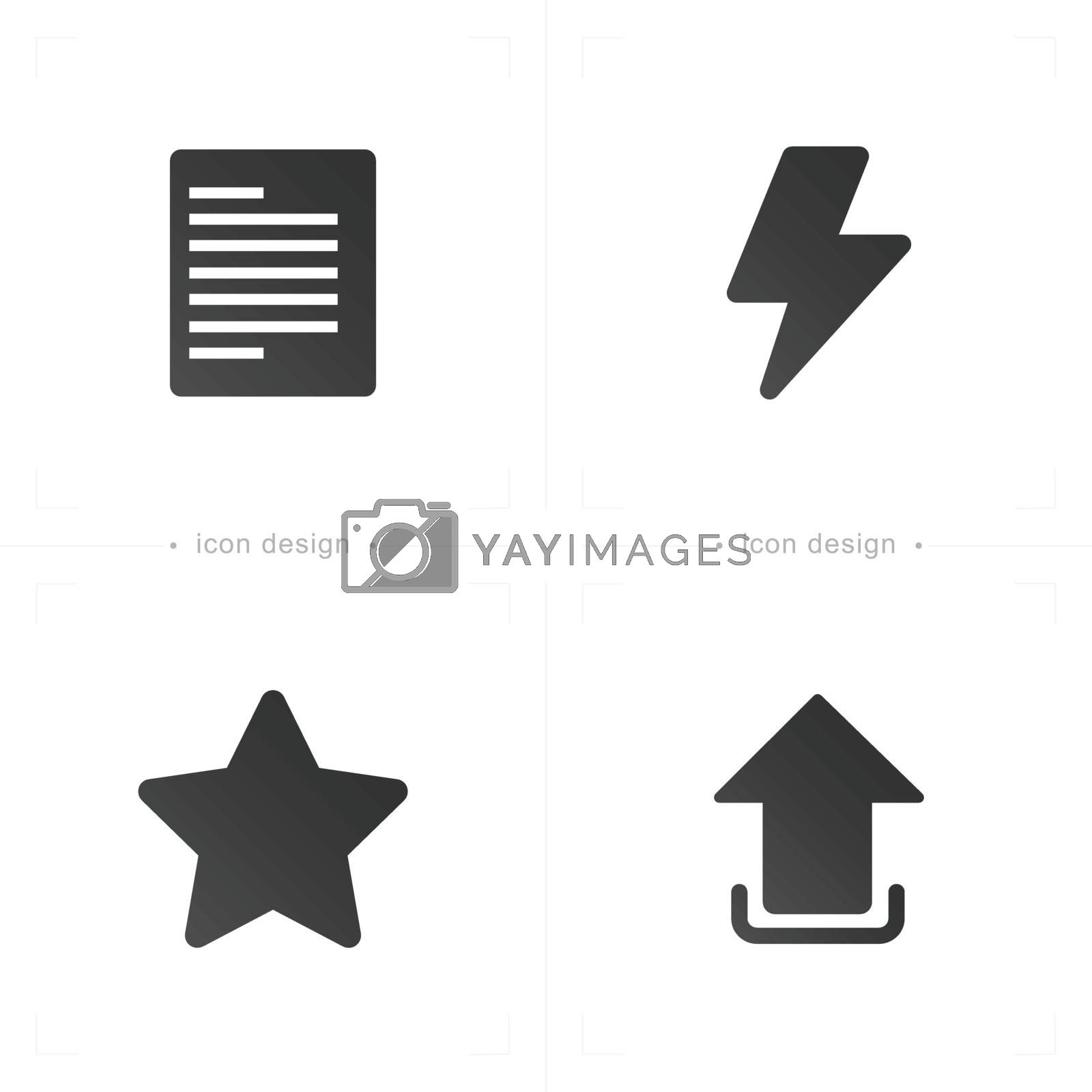 Media and communication paper, star and download icon